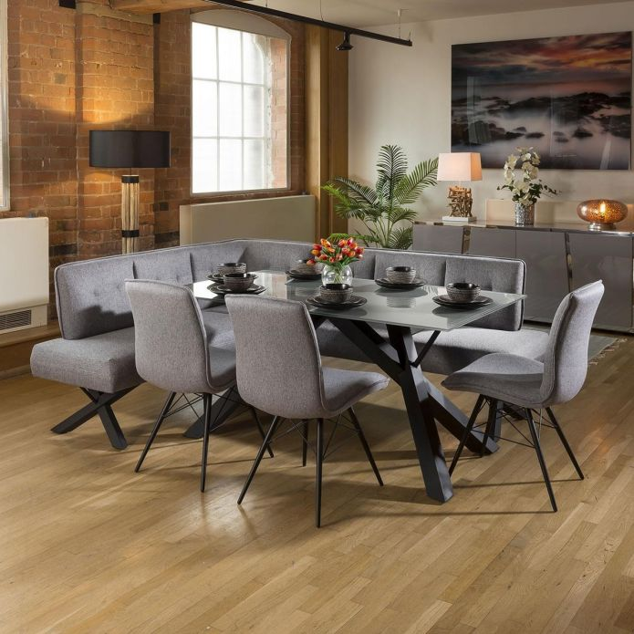 Grey Glass Dining Table Set + Fabric Corner Bench(R) & 3 Chairs