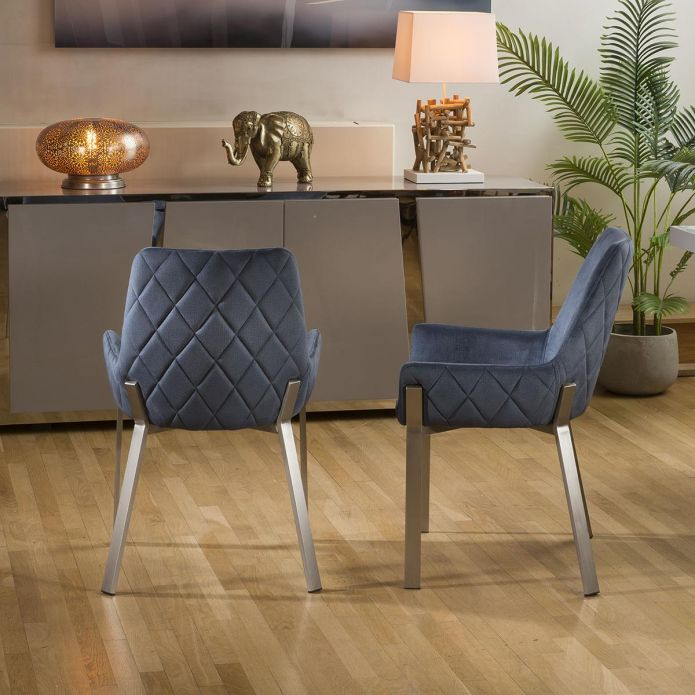 Pair of Modern Luxury Blue Carver Chairs Brushed Stainless Steel