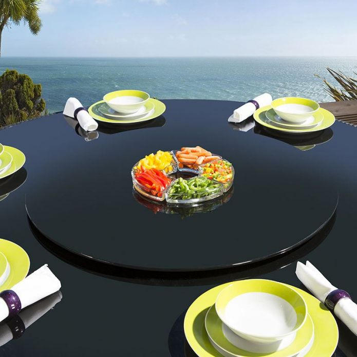 Large Outdoor Garden Black Glass Lazy Susan for Dining Table 800mm dia