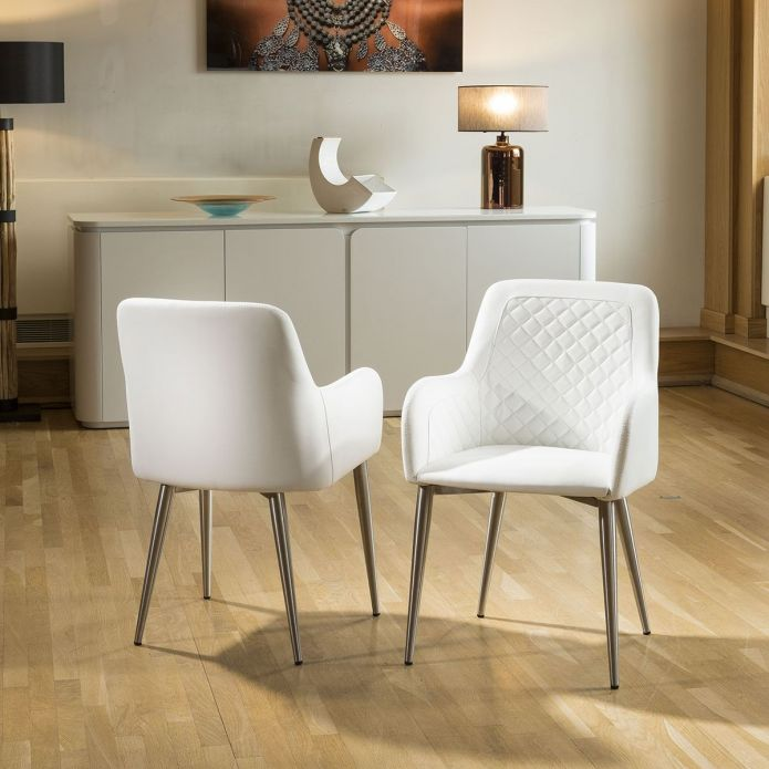 Stunning Dining Set White Glass Square Extending Table +4 White Chairs