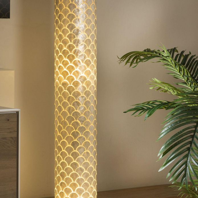 Tall Elegant Cylindrical Ivory Scallop Shell Floor Lamp 1500mm High