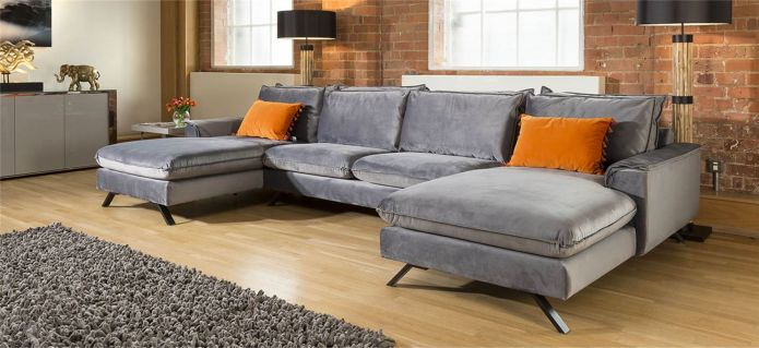 Ellie Extra Large U Shape Modular Cinema Sofa Many Fabrics 3.8 x 2.6m