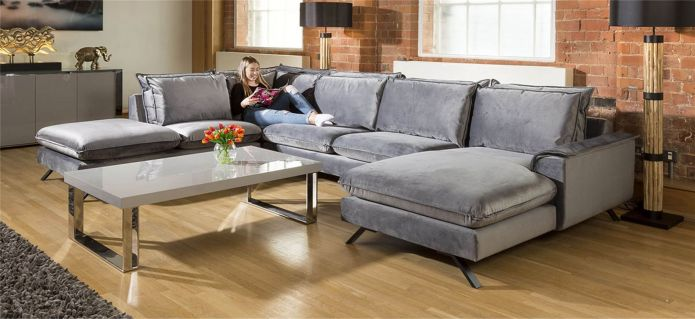 Ellie Extra Large U Shape Modular Cinema Sofa Many Fabrics 3.8x1.8x2.6m