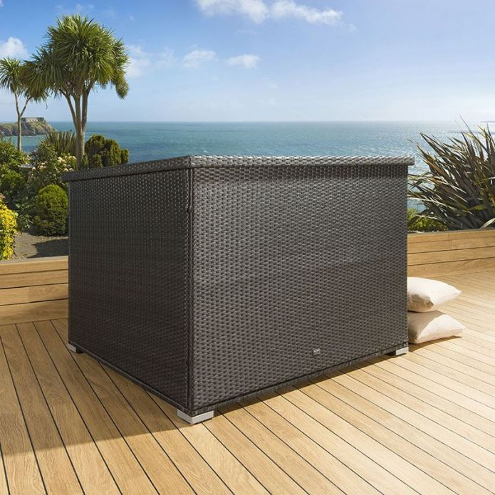 Luxury Outdoor Garden Black Rattan Storage Box / Cupboard / Chest New