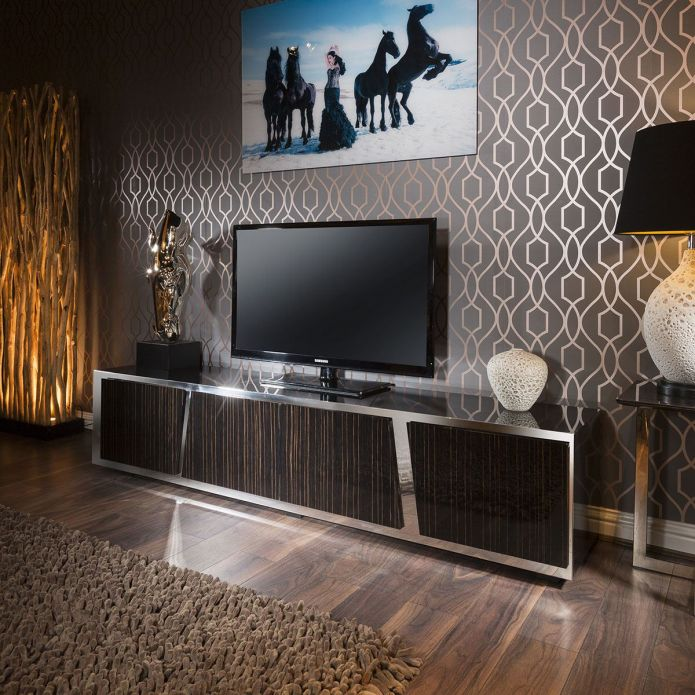 Large Luxury TV Cabinet Ebony Gloss Coffee Glass Top Stainless Frame V