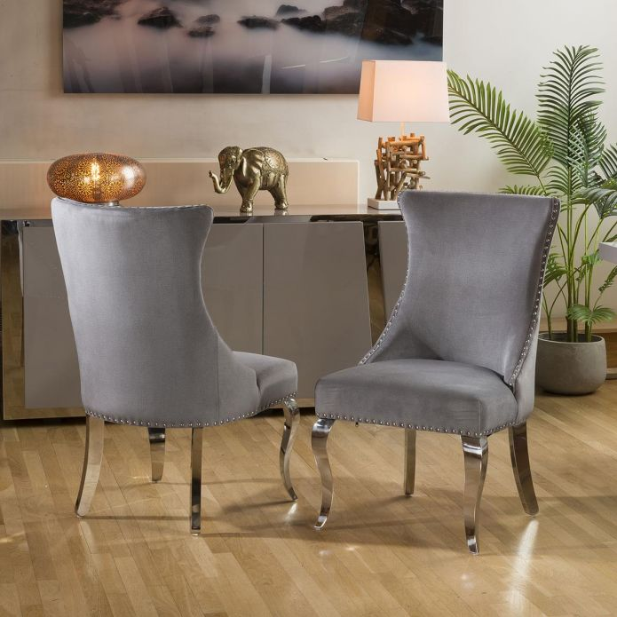 Stunning Pair of Contemporary Dining Chairs Grey with Chrome Legs
