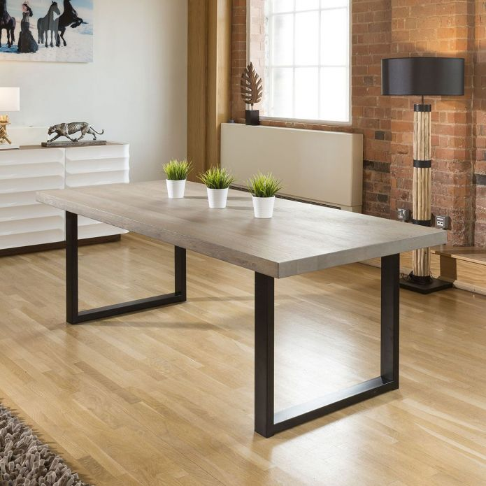 Rectangle Dining Table 220 Grey Solid Oak 6x Pink Swivel Carver Chair