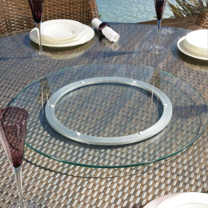 Large Outdoor Garden Clear Glass Lazy Susan for Dining Table 800mm dia