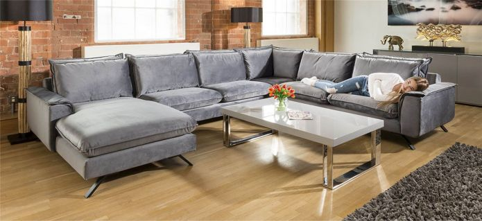 Ellie Extra Large U Shape Modular Cinema Sofa Many Fabrics 3.86 x 3m