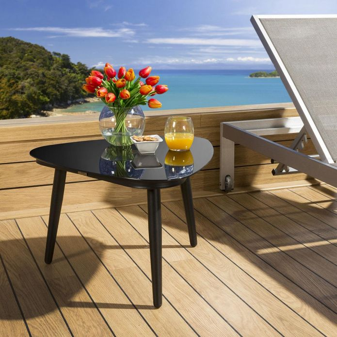 Luxury Outdoor Garden Side Table Aluminium With Glass Top Black