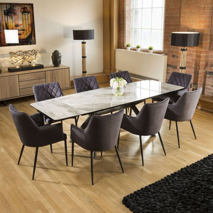 Italian Ceramic Grey Marble Dining Set With 8 x Charcoal Carver Chairs