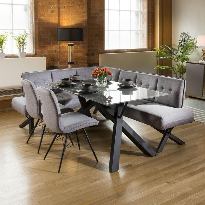 Grey Glass Dining Table Set + Fabric Corner Bench(R) & 2 Chairs