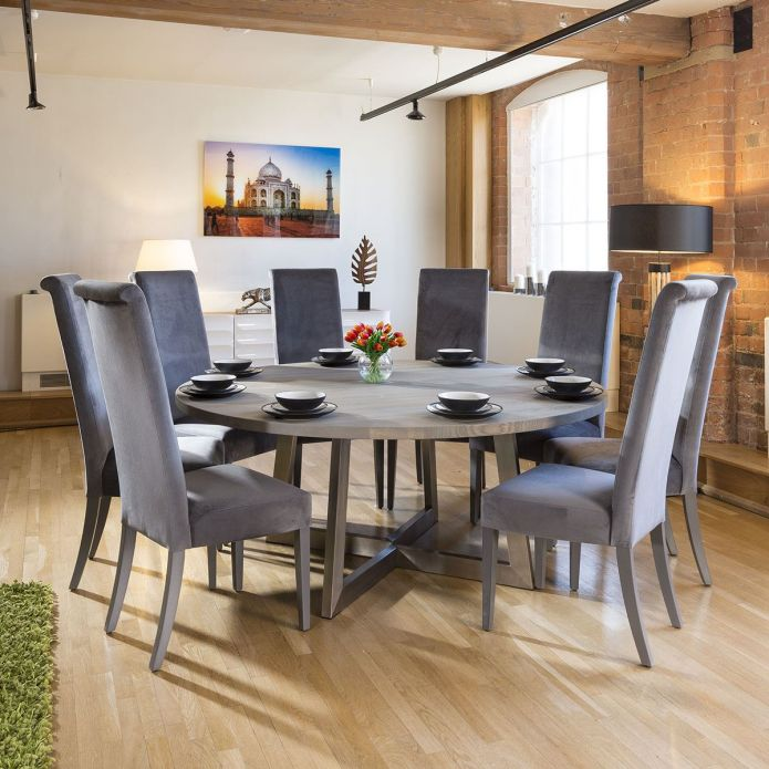 Large Round 1.8 Grey Oak Dining Table +8 Extra High Velvet Grey Chairs
