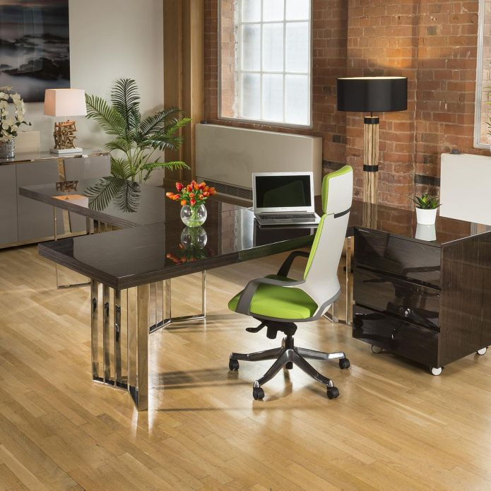 2 Desk arrangement in a smoked oak and stainless finish with chest of drawers