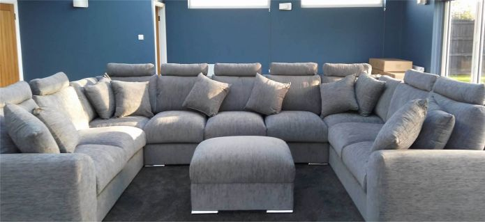 Extra Large Cinema Sofa Set Settee Corner Group U Shape Grey 4.0x2.6m