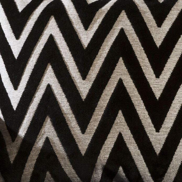 Contemporary Velvet Zaggi Cushion Pillow 430mm Square Black and Grey