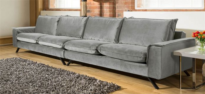 Ellie Range Extra Large 4 Seater Modular Straight Sofa Many Fabrics 4.1m