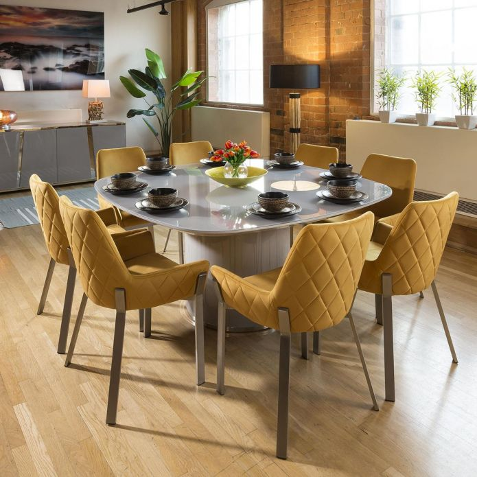 Huge Grey Square Glass Top Dining Set & 8 x Mustard & Stainless Chairs