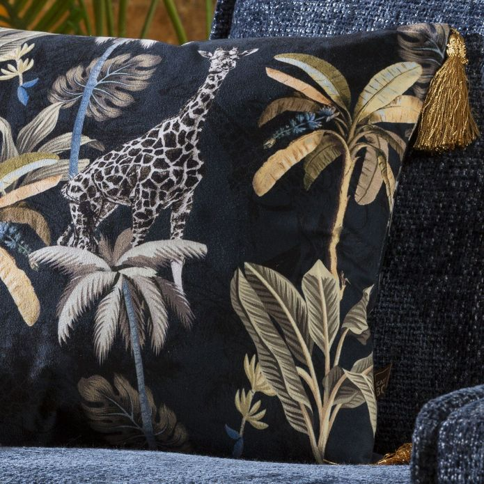 Velvet Giraffe Print Scatter Cushion with Tassles 450 Square Navy Gold