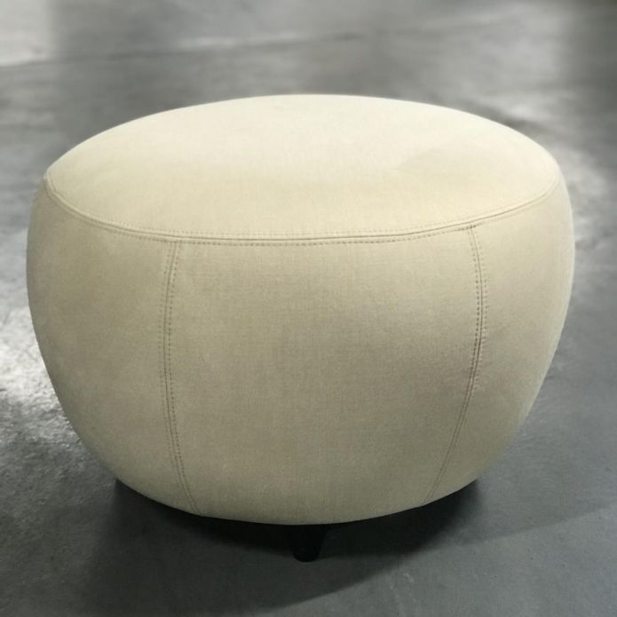 Round 70cm Footstool Moda fabric 2223 Stone Upholstery In Stock