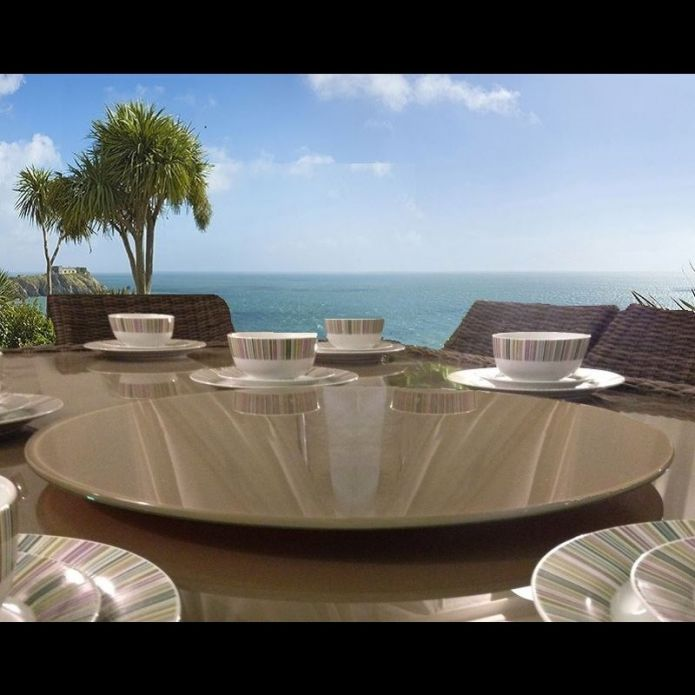 Indoor / Outdoor Mocha Glass Lazy Susan for Dining Table 800mm diameter