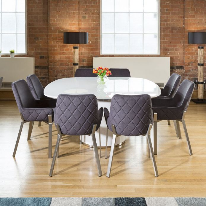 Large Quatropi Square White Glass Dining Table + 8 Grey Carver Chairs