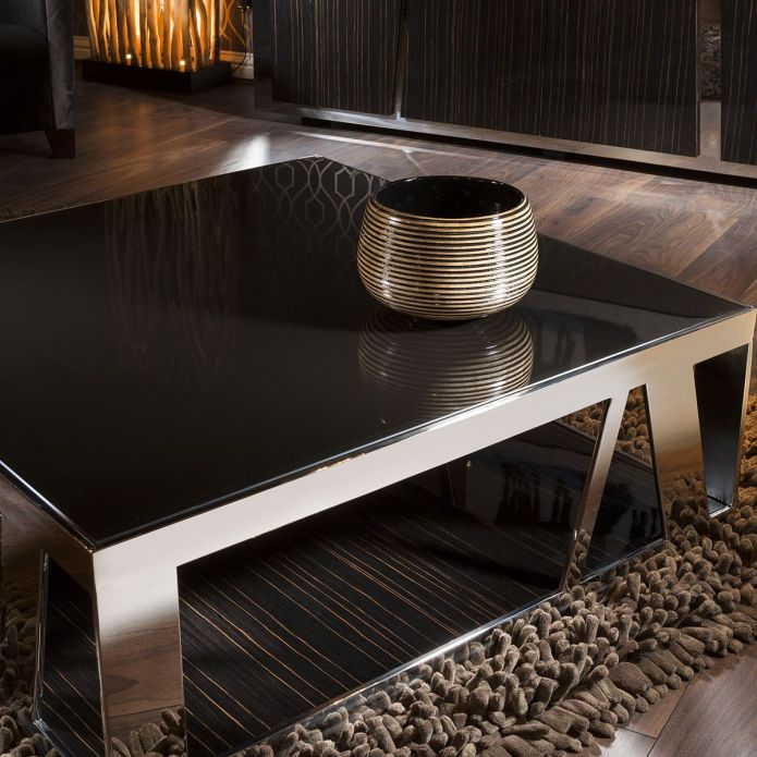 Modern Luxury Large Square Coffee Table Glass Ebony, Stainless Steel V