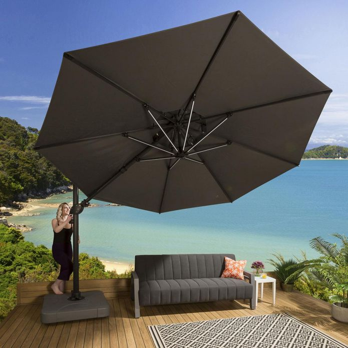 Luxury Grey Round Rotating & Tilting Parasol Umbrella 3.5m