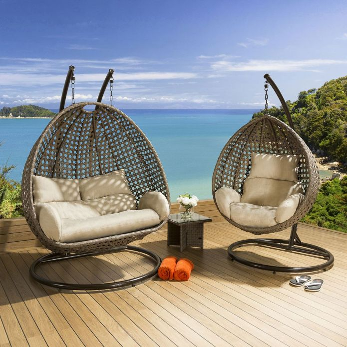 Outdoor Garden Single and Double Hanging Pod Chair Set Brown / Beige