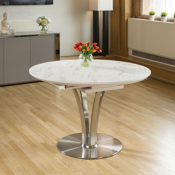 Modern Dining Table Round Oval Extends 120-160cm White marble Ceramic