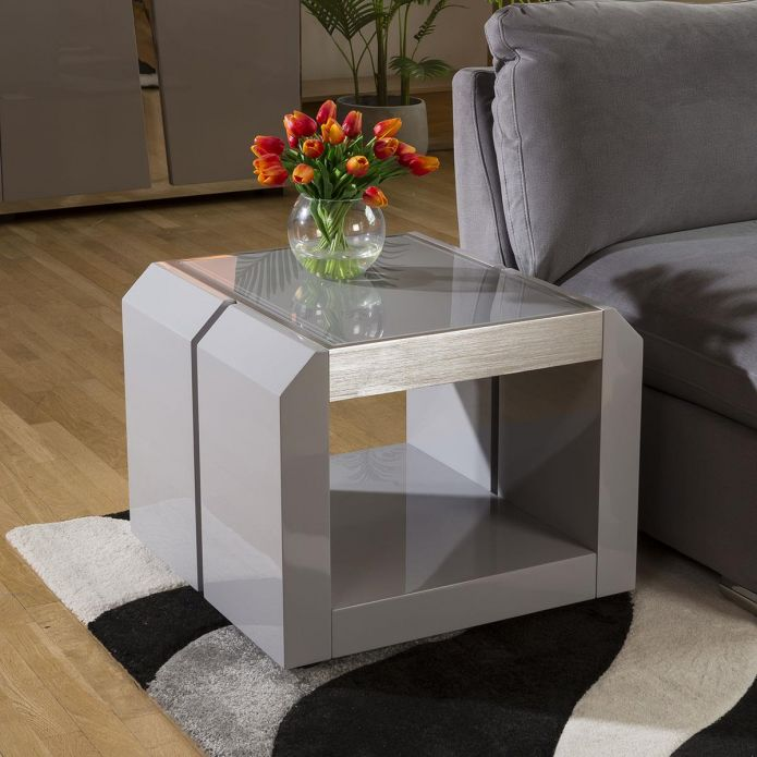 Modern End / Side / Lamp Table, Square, Grey Gloss / Glass Top 1B New
