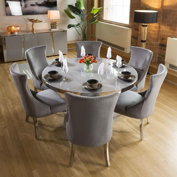 Unique Round Grey Dining Table Set + 6 Grey & Chrome Chairs