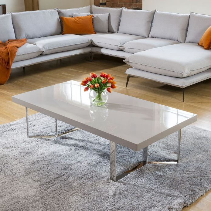 Quatropi Designer Large Darcy Coffee Table Grey Gloss Rectangular