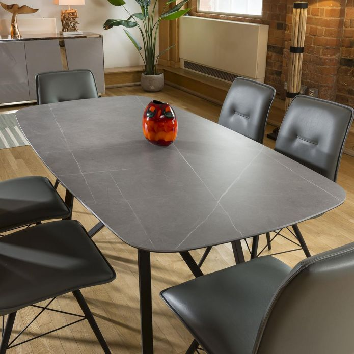 Ceramic Grey Table Dining Set 1.78m + 6 PU Leather Chairs 9137