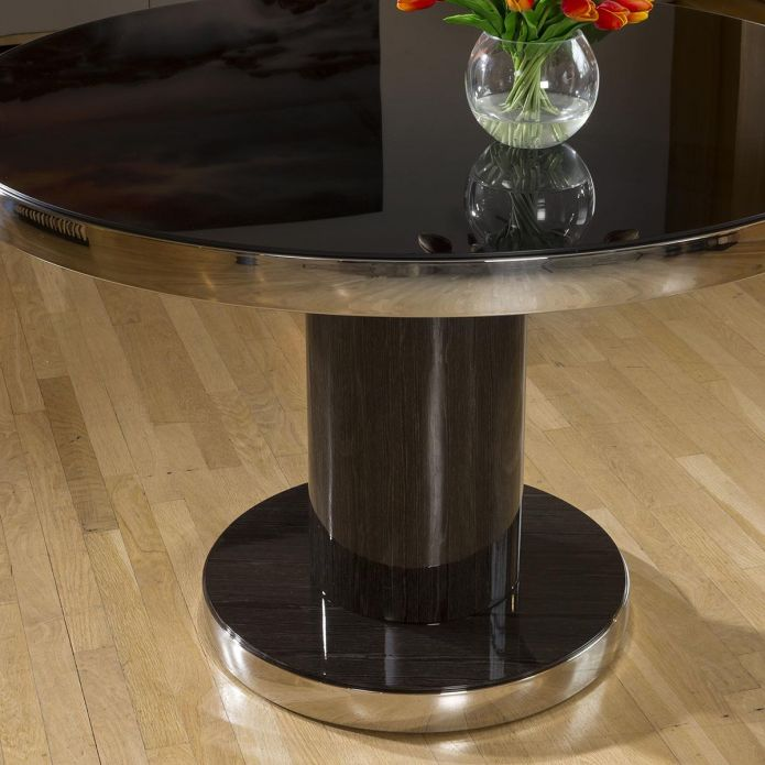 Round 1200mm Dining Table Smoked Oak Base Glass Top & Polished Steel