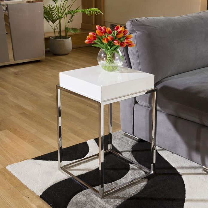 Stainless Steel Framed 410mm Wide End Table White Gloss Wood Top