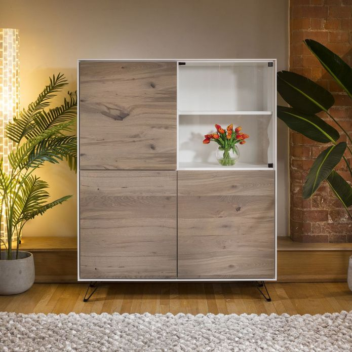 Square Tall Cabinet Sideboard White with Antique Oak Doors 3 Door