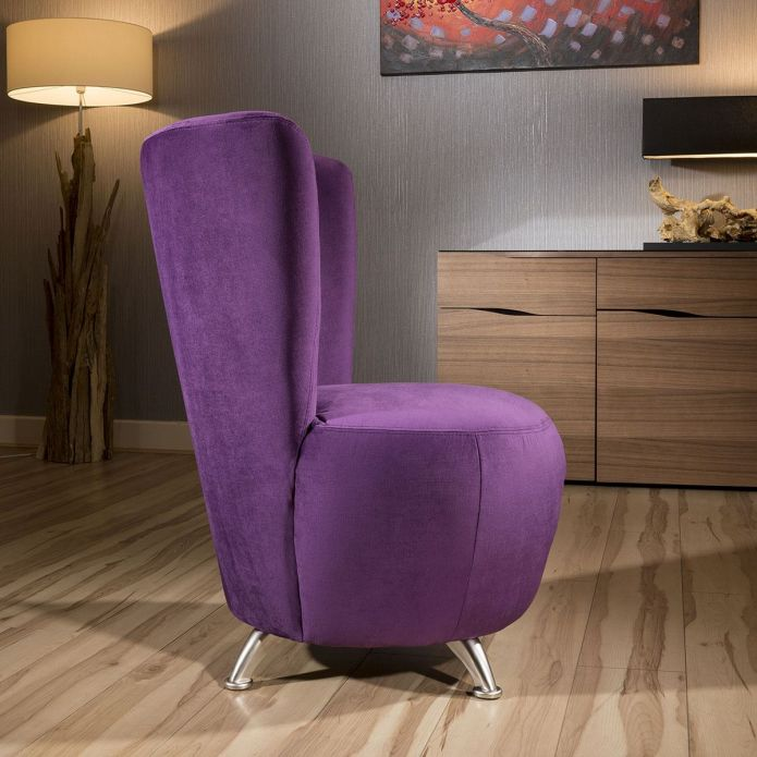 Amazing Modern Designer Purple Fabric Armchair Occasional Tub Chair