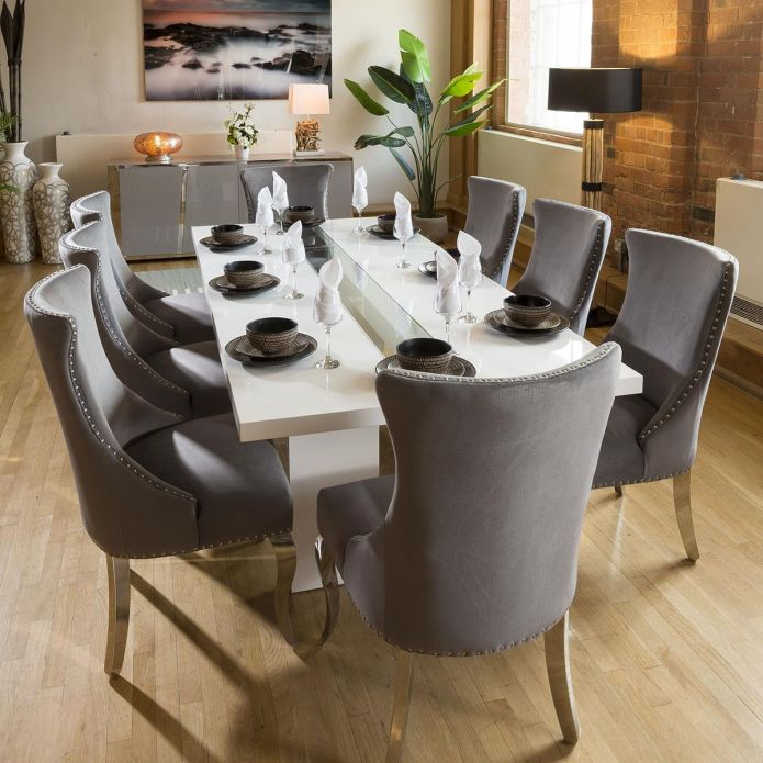 Luxury White / Glass Dining Table Set + 8 Grey Chairs Chrome legs