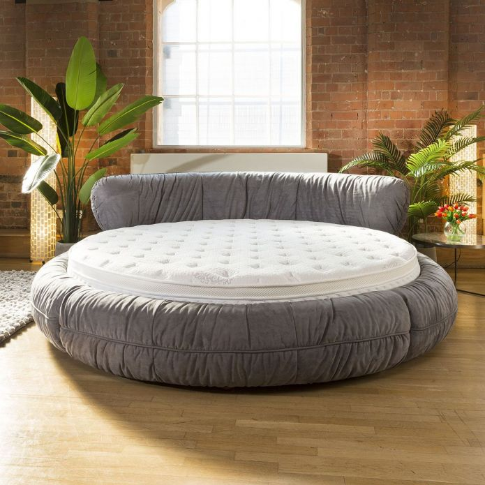 Stunning Round Grey Bed with 210cm Dia High Quality Mattress Quatropi