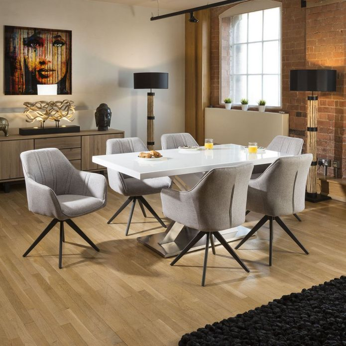 Sleek White Dining Set Glass top Table + 6 x Light Grey Carver Chairs