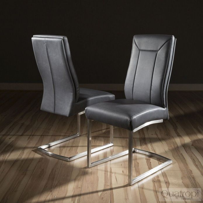 Set of 2 Big Comfy Modern Dining Chairs Vintage Black Faux leather 110