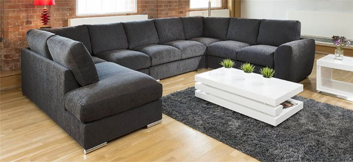 Extra Large Sofa Set Settee Corner Group U / L Shape Grey 4.0 x 2.6m R