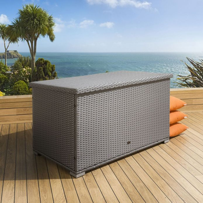Luxury Outdoor Garden Grey Rattan Storage Box / Cupboard / Chest