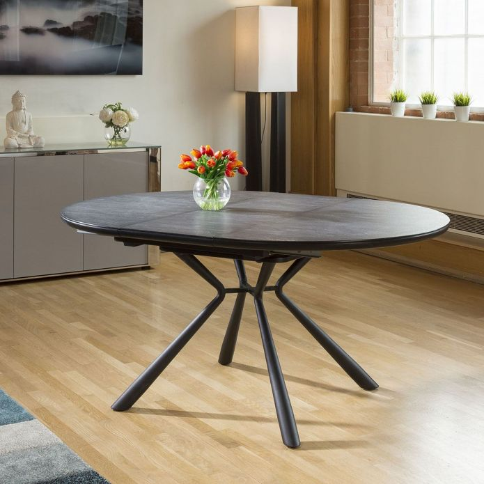 Modern Dining Table Round Oval Extending 120-160cm Granite Effect Top