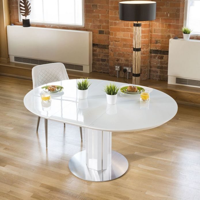 Modern Extending Dining Set Oval / Round Glass Wht Table 6 Ice Chairs