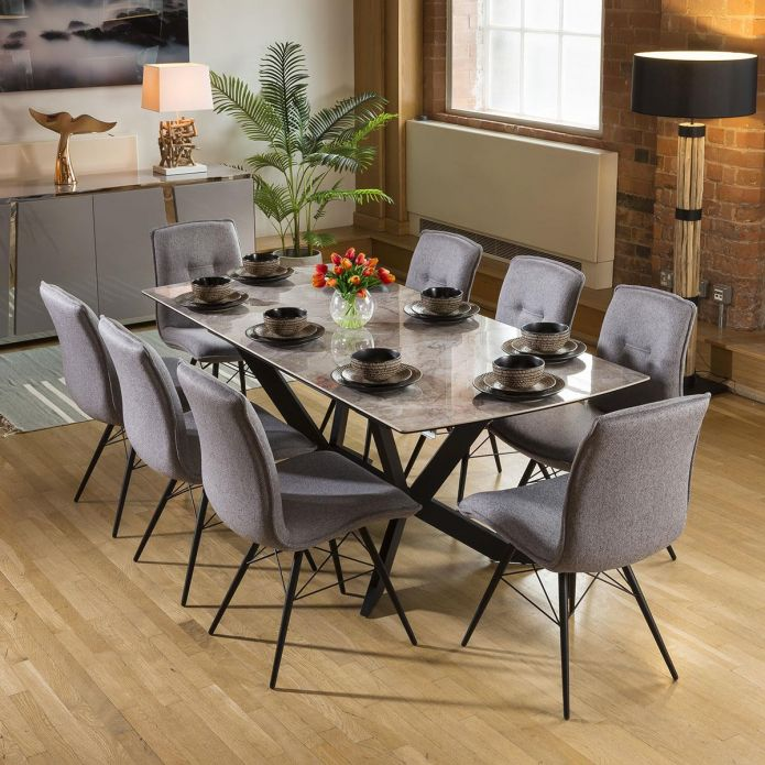 Extending Grey Ceramic Dining Table + 8 Grey Fabric Chairs 9137