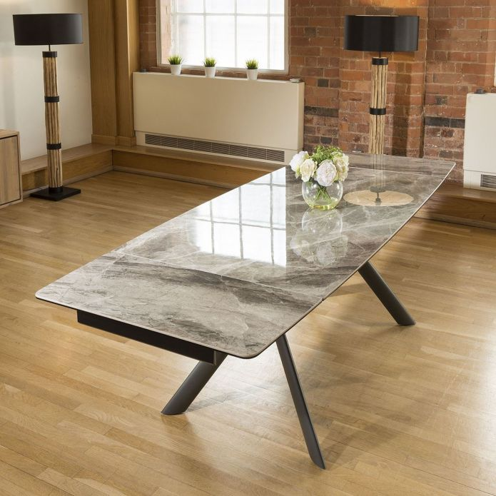 Dining Table Italian Ceramic Grey Marble Style Extending 1600 - 2400mm