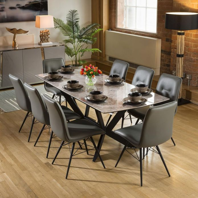 Extending Grey Ceramic Dining Table + 8 PU Leather Chairs 9137