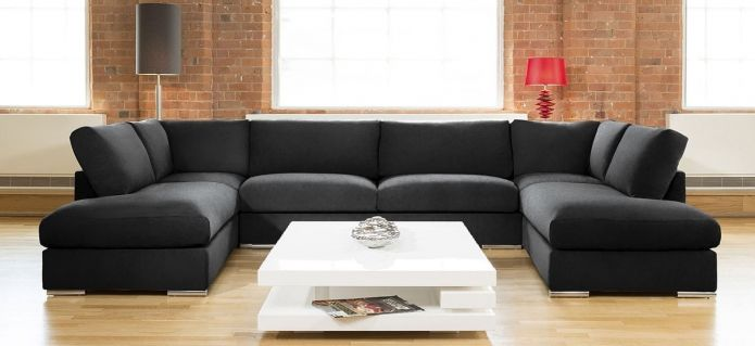 Quatropi Large Sofa Set Settee Corner Group U Shape Grey 3.7 x 2.1m